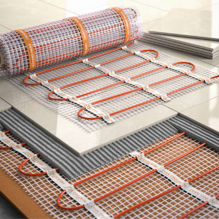 electrical underfloor heating roll before installation