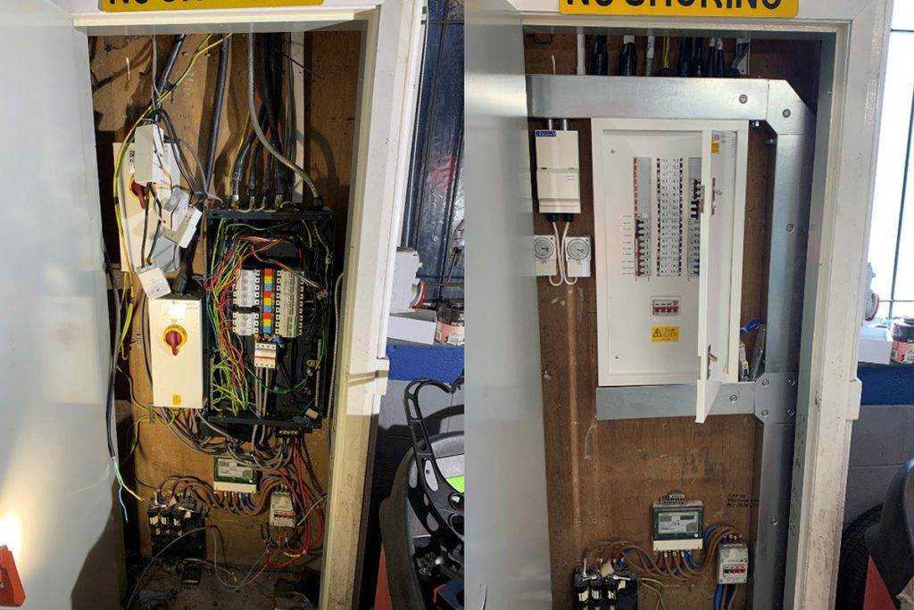 A before and after shot showing an impressive electrical board change and repair