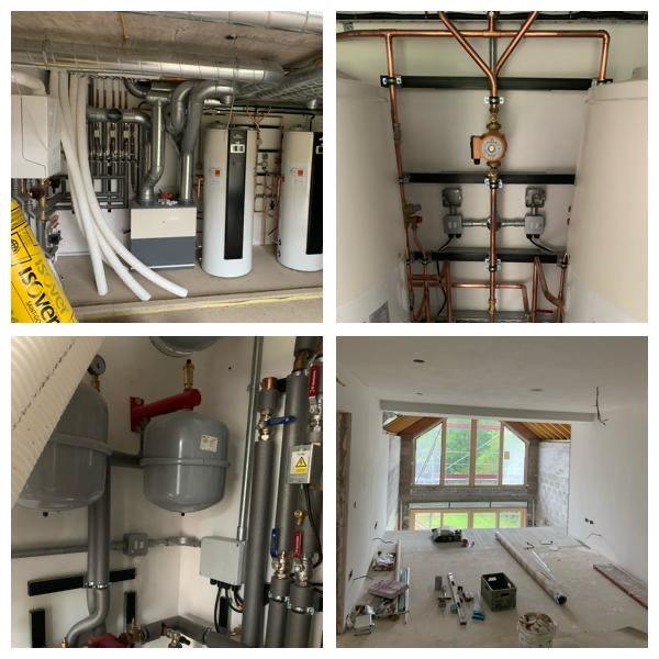 A collage showing four different aspects of a large domestic electrical job